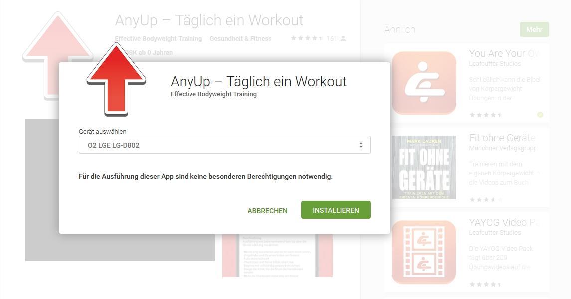 AnyUp Training ohne Geräte App